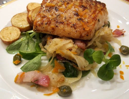 81 2 520x400 - Pannestekt torsk med fennikel, kapers, bacon og sitrusskall