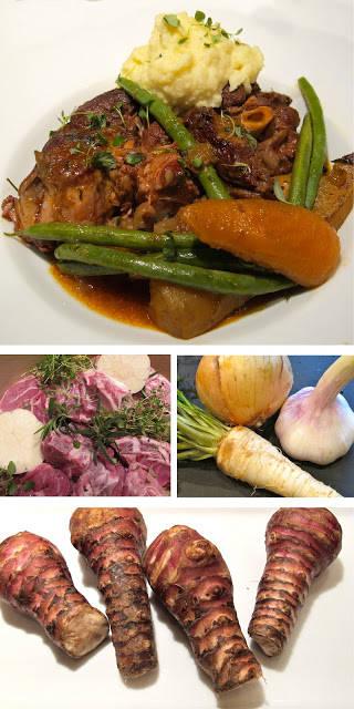 lammenam2 - Lammenam med bacon, gulrøtter, bønner og jordskokk- og potetpuré.