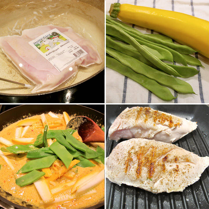 1. fra venstre:Sous vide av kyllingbryst. 2. gul squash og brede bønner. 3. peanøttsaus. 4. grillede kyllingbryst