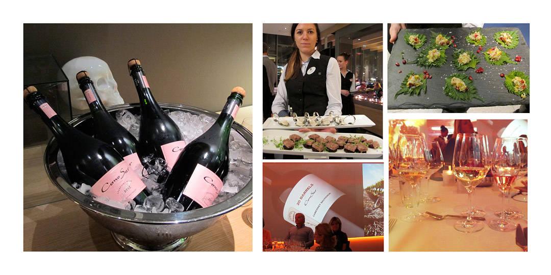 Cono Sur Sparkling rosé med fantastiske Amouse Bouche: Kamskjell med sesamfrø, Anderilette, sishoblader med krabbesalat.