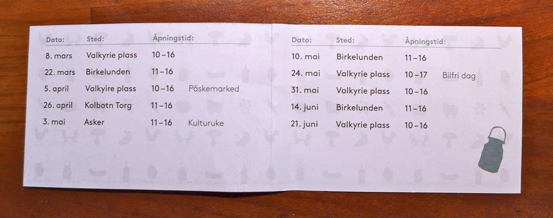 Datoer for Oslo-markedene i vår.