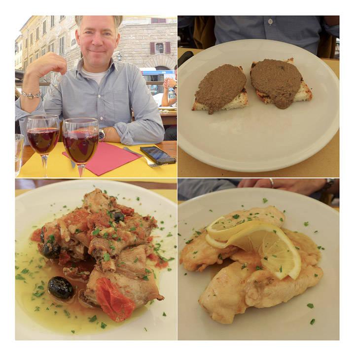 Osteria De'Benci i Firenze. Erik koser eg glugg. Øverst til høyre: Klassisk toscansk kyllinglevercrostini. Det ser helt jævlig ut, men smaker nydelig. Nederst til venstre: Ovnsbakt kanin med oliven og cherrytomater. Til høyre har vi restaurantens sitronkylling.