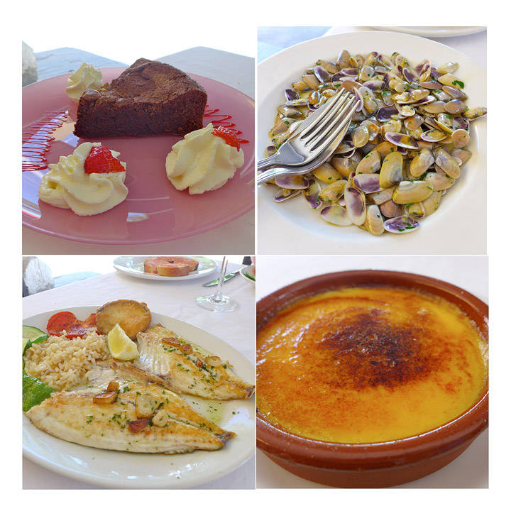 Can Rafa. Nydelig fersk fisk, tellinskjell, crema catalana og sjokoladekake.