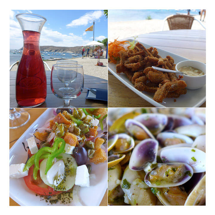 Xiringuito de la Mei: Kaninribbein, nydelig gresk salat (den beste jeg har spist) og tellin-skjell.