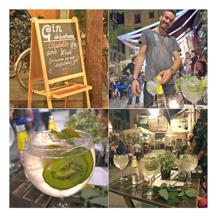 Nabokneipa vår i Barcelona skilter med ukens gin. Noen mer smakfulle enn andre. Denne versjonen med Citadelle Gin og kiwi var en skikkelig fulltreffer...