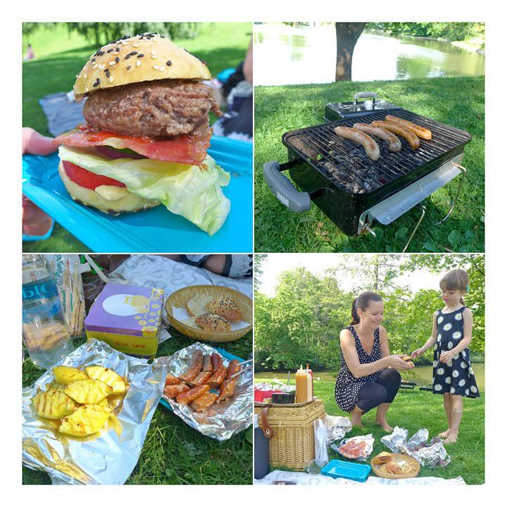 En skikkelig burger! Kvalitetspølser på grillen. Grillet ananas. Vilde Sofie får selv velge akkurat det hun har lyst på å ha på burgeren sin.