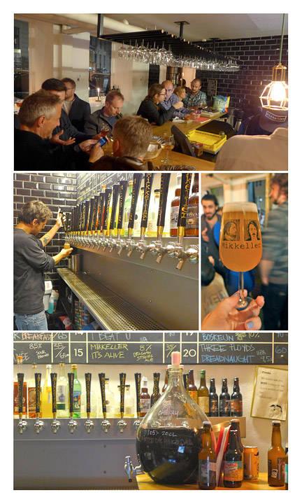 Stor stemning på Mikkeller i Viktoriagade. Her blir du spurt om hva slags øl du liker: Mild, mørk, lys, bitter osv. Så får du smake en sipp før du bestemmer deg hvilken en du vil ha.