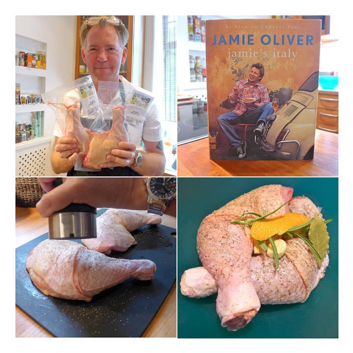 Erik har fått tak i noen svære kyllinglår fra Holte gård. Inspirajon til retten fra Jamie. Han salter og peprer lårene godt før han legger dem i en bolle med rosmarin, laurbærblader, hvitløk og en remse appelsinskall.