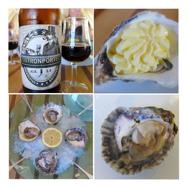 Porter. Kreativ bruk av østersskall. Perfekt til å servere smør i. Sesongens første svenske østers.