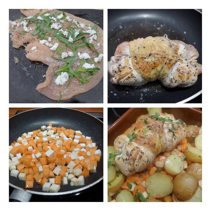 1. Kyllingkjøttet er banket ut og fått et godt drag pepper og salt over seg, samt askechevre (eller annen lys geitost) og estragon. 2. Kyllingruladen brunes i pannen med litt olivenolje. 3. Rotfrukter i terninger stekes raskt i en panne. 4. alt klart for ovnen!