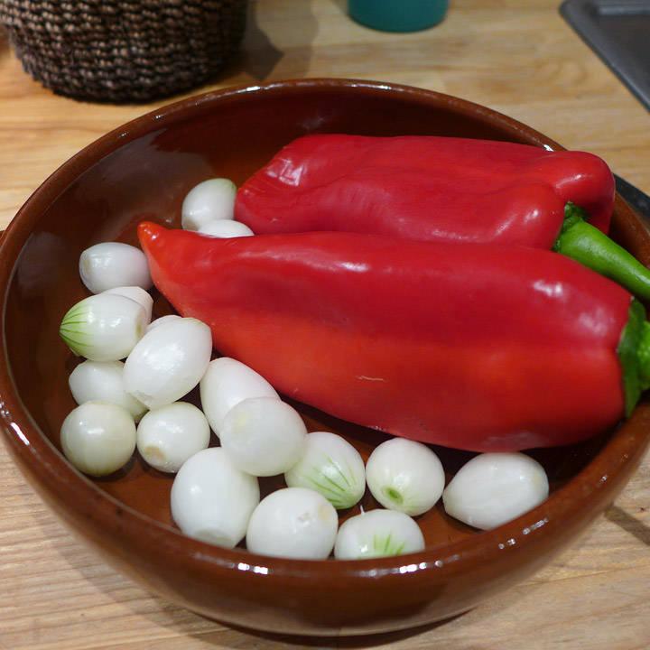 Sølvløk og paprika klar for ovnen.