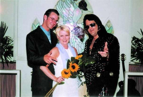 Erik (t.v.), meg og Elvis i Las Vegas 17. mars 1997.