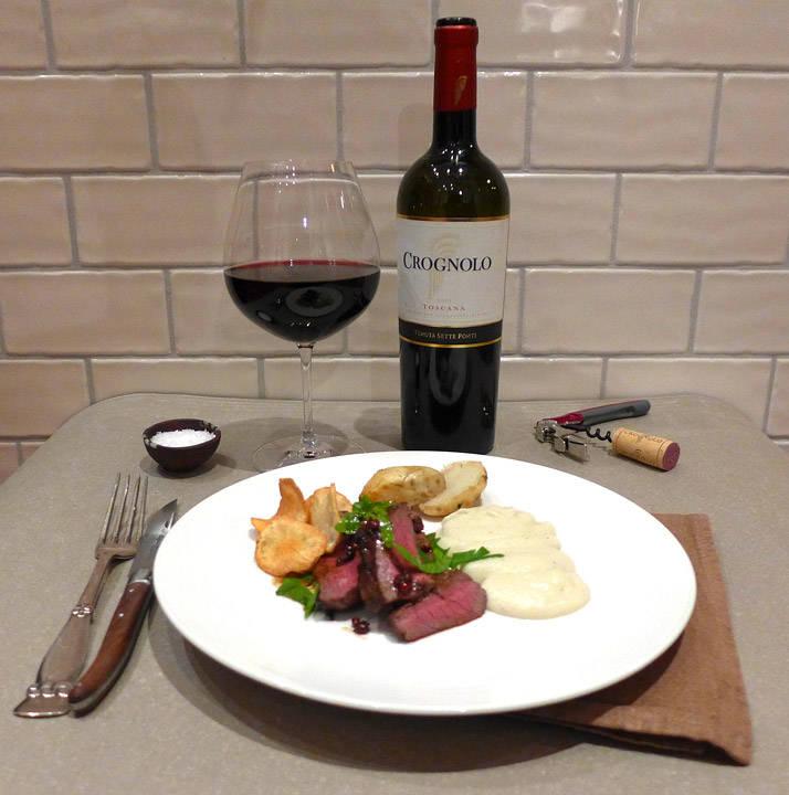 l1070903 - Elg, jordskokk på tre måter, rosépepper og en sabla god vin