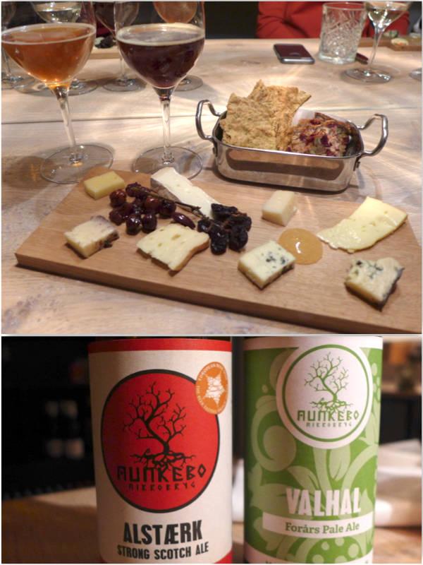 5. rett: Ost. 8 forskjellige nordiske oster Drikke: Munkebo-øl – Valhal: Grannåle, grape og limesmak/ Alstærk: 7 forskellige mørke malt-sorter.