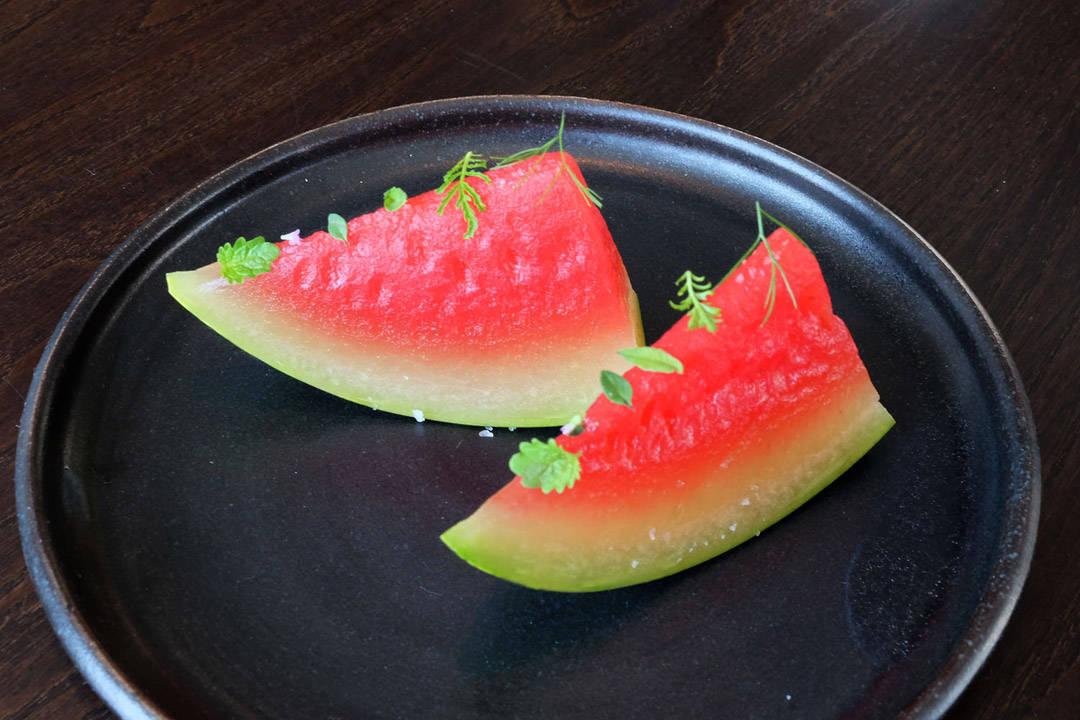 Vannmelon med yuzu og sake.