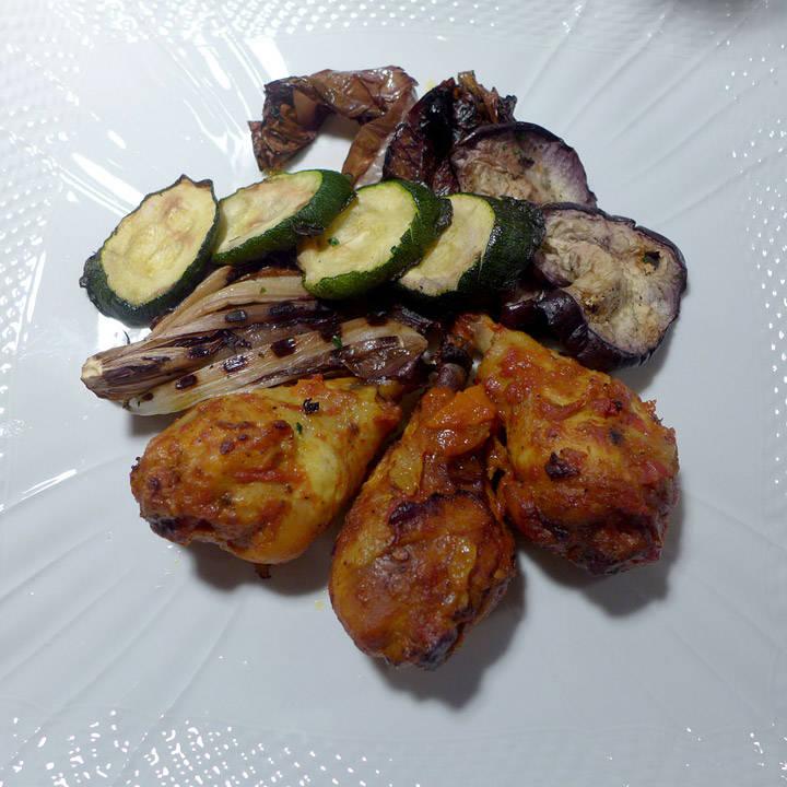 Fantastisk saftig kylling og grillede grønnsaker