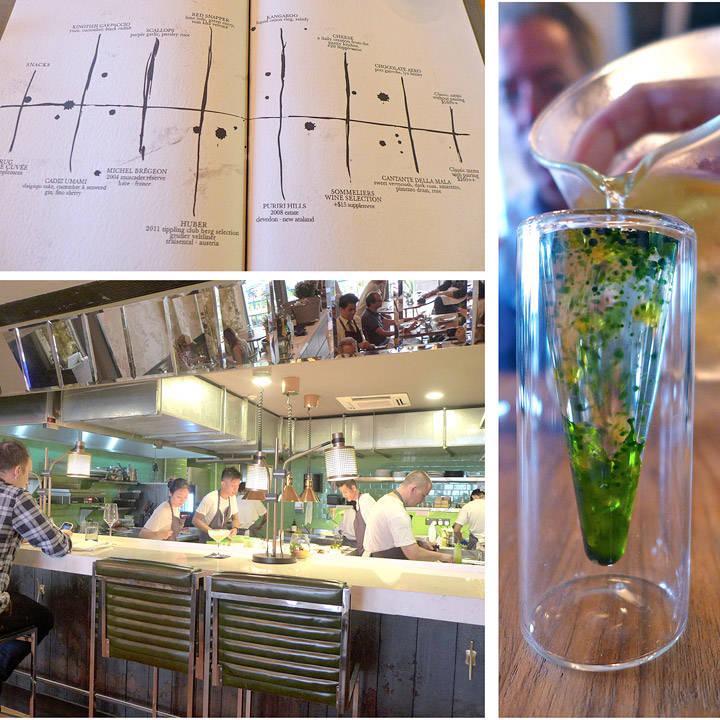 Menyen på The Tippling club er et grafisk kunstverk. Tredje forrett før selve menyen var en tomatsuppe med basilikumsolje. En smaksbombe.