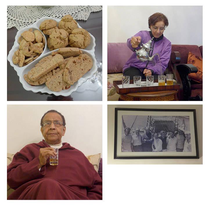 Småkaker og te. Deilige marokkanske småkaker og te serveres av Zobida og Madani i leiligheten deres i Marrakech. Madani var mannskappå Ra 2 sammen med vår egen Thor Heyerdal.