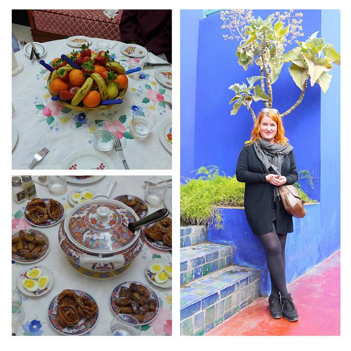 Herlig fruktfat. Bordet er dekket til Harira. Meg i Majorelle-hagen.