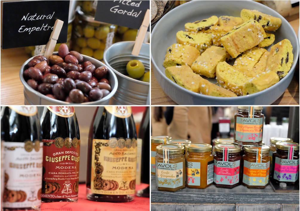 Oliven, Safranskkaker, balsamicoeddik fra Modena og fransk marmelade.